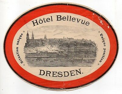 51370. Circa 1890 Luggage Label Hotel Bellevue Dresden Germany engraving of city