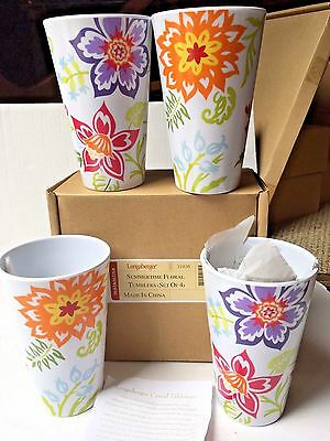 Longaberger Summertime Summer Time Floral New In Box Set 4 Cups Tumblers
