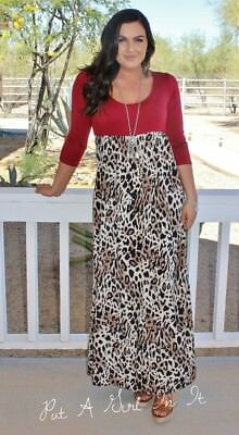 Sexy Plus Size Red Leopard Animal Print 3/4 Sleeve Long Maxi Dress 1X 2X 3X Usa