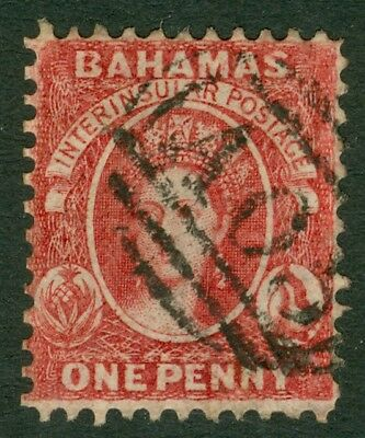 SG 8 Bahamas 1882. 1d carmine lake, perf 11½ to 12, no WMK. Very fine used...