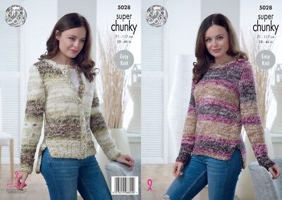 888443cd3 KING COLE 5028 Knitting Pattern Sweater Cardigan - Big Value Super ...