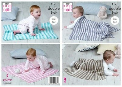 King Cole Baby Blankets Cottonsoft Baby Crush Knitting Pattern 5101 DK (KCP-...