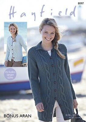 cf582a6f1adb44 Free UK P P - Hayfield Ladies Cardigans Bonus Knitting Pattern 8097 Aran.