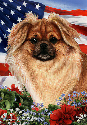 Large Indoor/Outdoor Patriotic I Flag - Sable Tibetan Spaniel 16477
