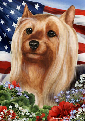 Large Indoor/Outdoor Patriotic I Flag - Silky Terrier 16102