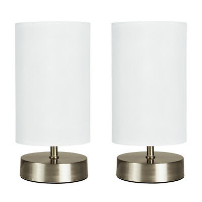 Pair of Modern Brushed Chrome Bedside Touch Dimmer Table Lamps White Shades Home
