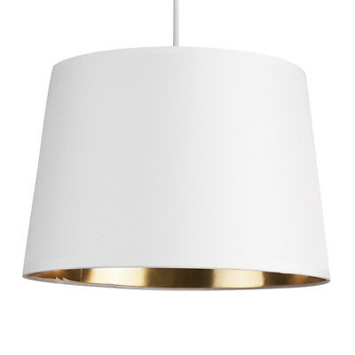 Modern Tapered White Ceiling Light Lamp Pendant Shade Gold Metallic Inner Home