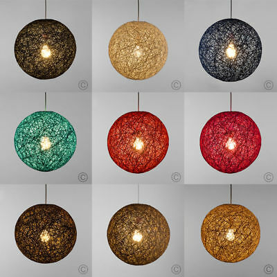 Rattan Wicker Pendant Light Shade Fitting Small / Medium / Large in  9 Colours