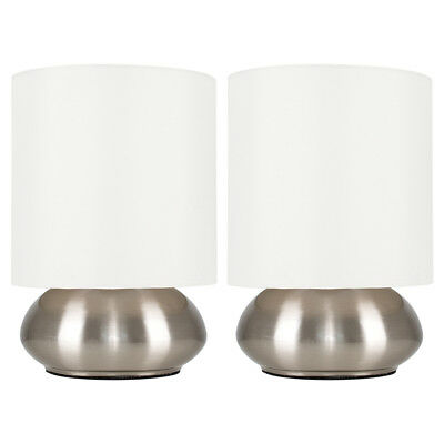 Pair of Modern Brushed Chrome  Cream Touch Dimmer Bedside Table Lights Lamps