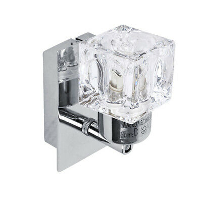Pair of Modern Silver Chrome  Glass Ice Cube Indoor Wall Lights Lamps Lighting