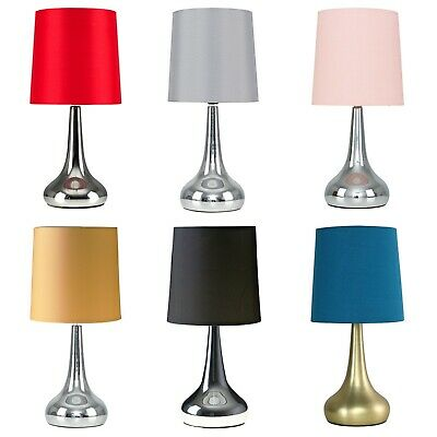 Pair of 34cm Modern Chrome Tear Drop Touch Dimmer Bedside Bedroom Table Lamps