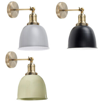 Antique Brass Industrial Style Wall Lights with Gloss Metal Shades Vintage Bulb