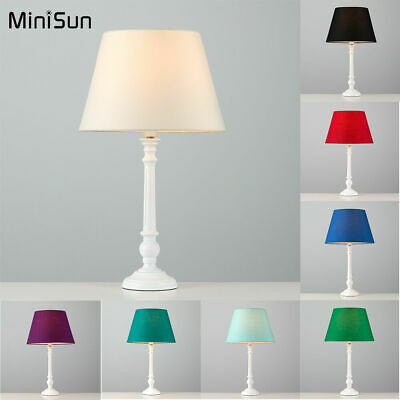Modern White Wooden Candle Stick Table Lamp Round Base Lounge Lighting