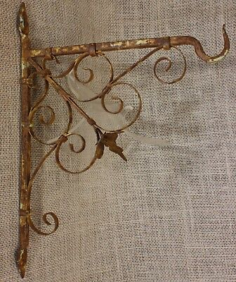 Plant Hook Bird Cage rustic wrought tin iron old rusty antique vintage hand made