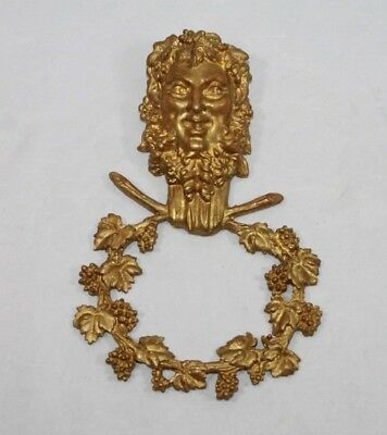 Victorian Style Gothic Architectural Green Man Brass Fixture Wall Art