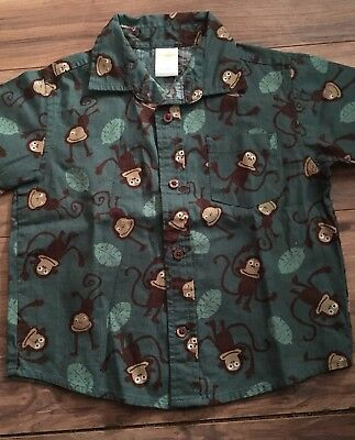 Gymboree King Of Jungle Boys Size 18-24 Months Short Sleeve Shirt Monkey