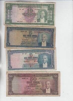 Turkey Paper Money 4 old notes low grade and up