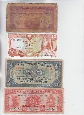 World Currency lot 4 old notes lower grade and up