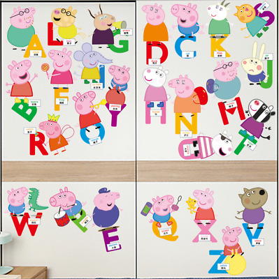 26 Letter Peppa Pig wall sticker growth chart child's room wall decal nursery UK