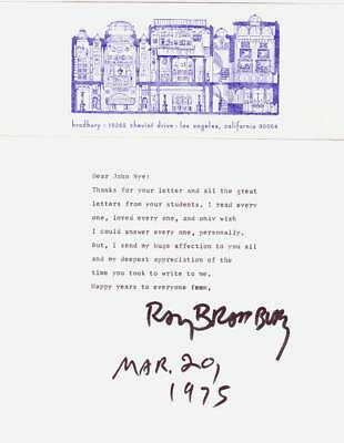Original 1975 RAY BRADBURY signed letter to school teacher with mailing envelope