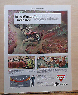 """1949 magazine ad for Conoco - """"Manfish"""" diver, fend off danger 200 feet below!"""