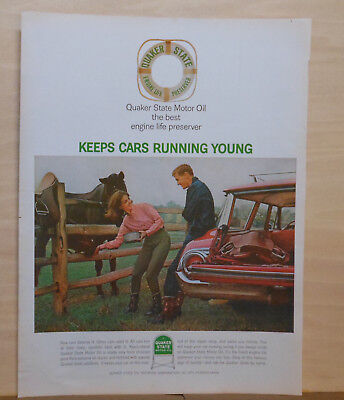 1964 magazine ad for Quaker State Oil - Keep cars running young, at the ranch