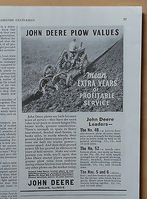 1939 magazine ad for John Deere - Plow Values mean extra years of profit