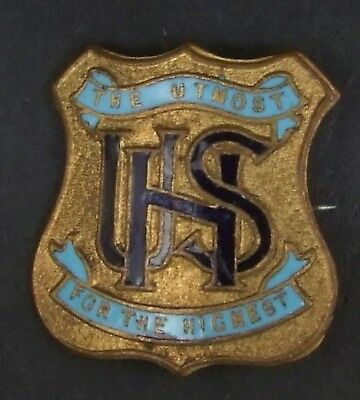 Vintage Unley High School Badge by R R Sarre. Pin replaced 30 x 30 mm