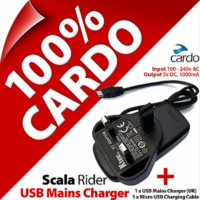 Cardo Scala Rider Mains Travel Charger 3 Pin UK Plug + Micro USB Charging Cable