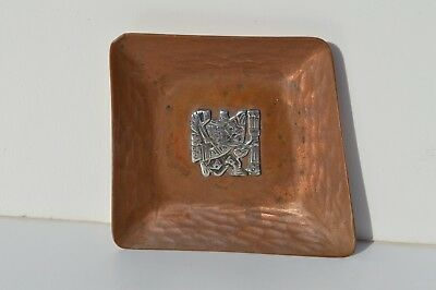 Vintage Sterling Silver Overlay On Hand Hammered Copper Vicky Industria Peruana