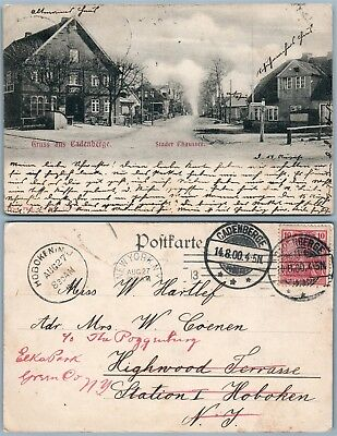CADENBERGE GERMANY STADER CHAUSSEE ANTIQUE UNDIVIDED 1900 POSTCARD w/ STAMP