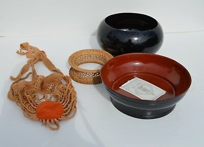 Nice Vintage Burmese Lacquerware Bowl,  Stand, Carrying Strap