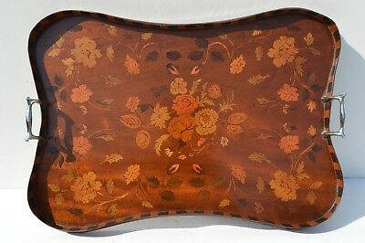 Fine Antique Wooden Inlay Servicing Tray Flower Pattern As Found