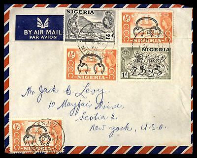 Nigeria 1958 Enugu May 30 1958 Air Mail Cover To Scotia Ny Usa