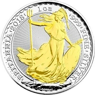 2018 1 oz British Silver Britannia Coin , 24k Gold Gilded , new uncirculated 1
