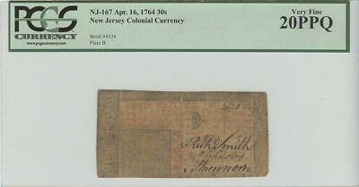 1764 30 Shillings New Jersey Colonial Currency NJ-167 PCGS Currency 20 PPQ Ve...