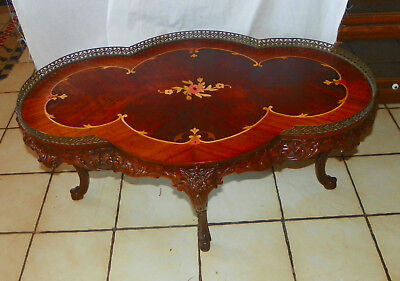 Marquetry Inlaid Mahogany Coffee Table with Brass Gallery  (RP-CT184)