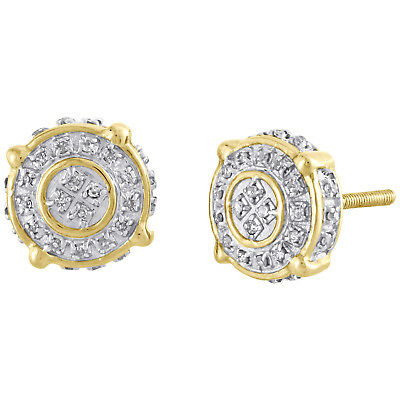 10K Yellow Gold Genuine Diamond 4 Prong Cirlce Studs 9mm Pave Earrings 1/4 CT.