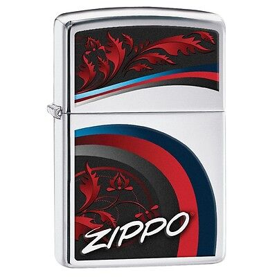 "Zippo ""Elegant Swoosh"" High Polish Chrome Finish Full Size Lighter, 29415"