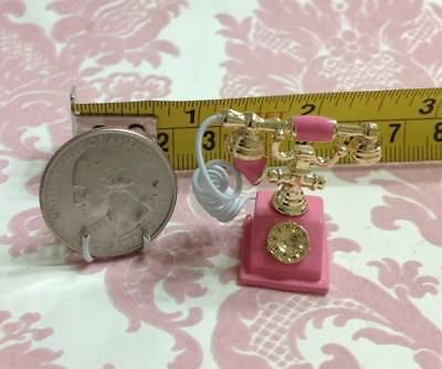 """Dollhouse Miniature Home Vintage Style Pink/Gold Metal 1"""" Telephone 1:12"""