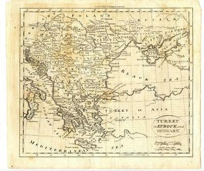 1795 Copper Engraving Map Turkey in Europe Hungary William Guthrie