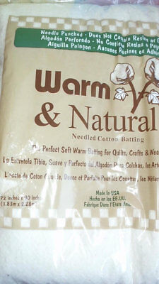 Warm and natural 100 % cotton quilt batting 72 x 90 twin size