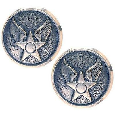 USAF Air Force Buttons WAF Hap Arnold  20 ligne silver ox (Made in USA) (1 Pair)