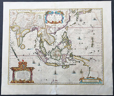 1639 H Hondius Antique Map of East Indies Early Australia, China, SE Asia, India