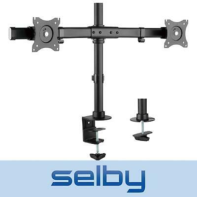 "13 - 27"" Inch 10kg Dual 2 LCD Monitor Screen Grommet Clamp Desktop Stand VESA"