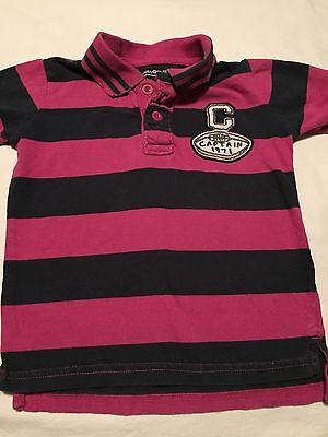 Baby Gap Boys Short Sleeve Polo Shirt Size 3T Years Football Purple