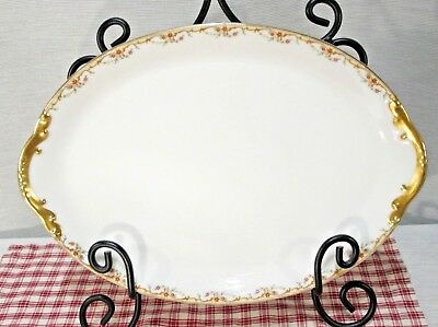 "Limoges Vignaud The Meuse 14"" Platter, Rust & Yellow Flowers w/ Gold  EXC!"