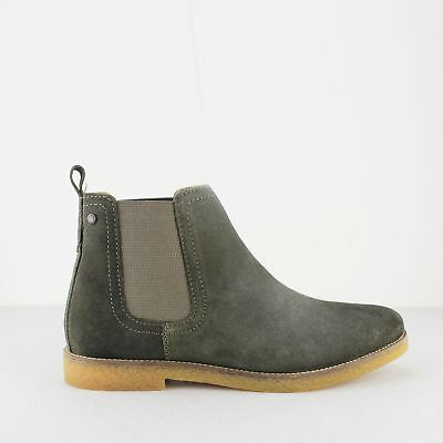 490657c8e49ff1 Base London FERDINAND Mens Stylish Suede Leather Chelsea Ankle Boots Olive  Green