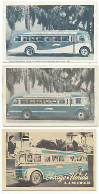 3 Dif. SOUTHEASTERN GREYHOUND BUS LINES - 1930's Ad Postcards