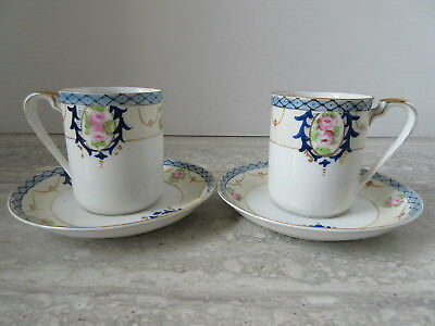 Pair of Antique Noritake Blue Floral Demi Tasse Cups & Saucers